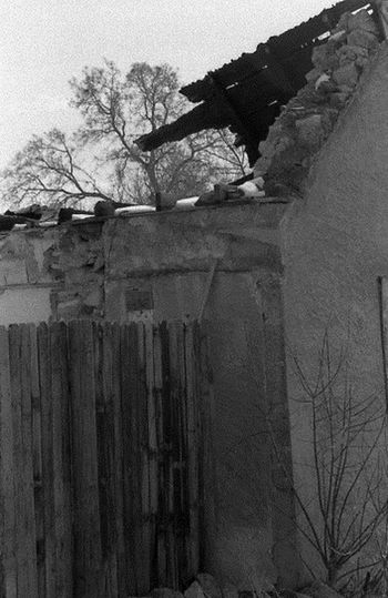 Trespassing at The Old Mill Architecture Bare Tree Black & White Branch Building Exterior Built Structure Cold Temperature Damaged Day Fence Film Photography Historical Building Nature Obsolete Outdoors Residential Structure Roofless Section Sky Snow Surrounding Wall Tree Trespassing For Art  Wall - Building Feature