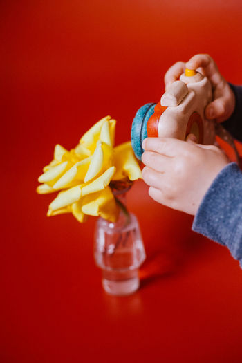 Close-up of hand holding apple against red background