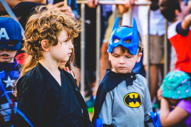 Batman Children Cosplay Superhero Arts Culture And Entertainment Boys Character Childhood Close-up Costume Day Focus On Foreground Incidental People Outdoors People Real People Street Photography Superheroes