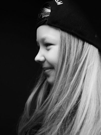 Child Headshot Blond Hair Side View Black Background Childhood Black & White Friday Pretty Long Hair Pretty Girl One Girl Only Girl Smiling Growing Up Sweet Girl Little Girl Monochrome Black & White Portrait Human Face Kids Portrait Girl Close-up Black And White Studio Shot One Person