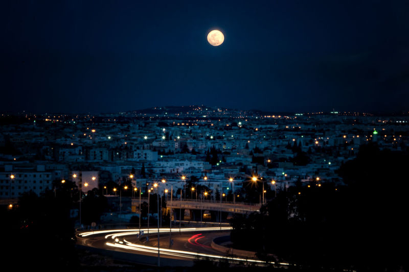Architecture Astronomy City Full Moon Illuminated Moon Nature Night No People Outdoors Road Scenics Sky