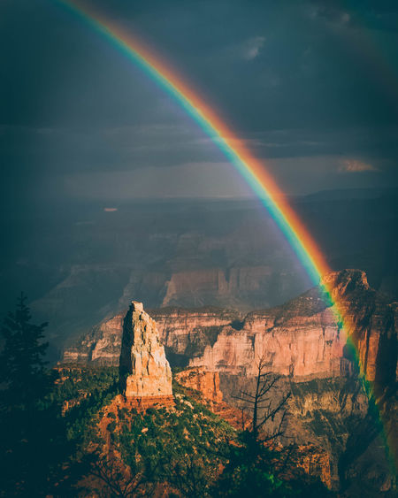Scenic view of rainbow over rocks