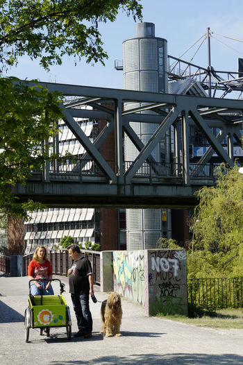 Gleisdreieckpark Architecture Berlin Bridge - Man Made Structure Building Exterior Built Structure City Day Dog Domestic Animals Full Length Gleisdreieck Gleisdreieckpark Lifestyles Mammal Men One Animal One Person Outdoors People Pets Real People Sitting Sky Tree U-Bahn