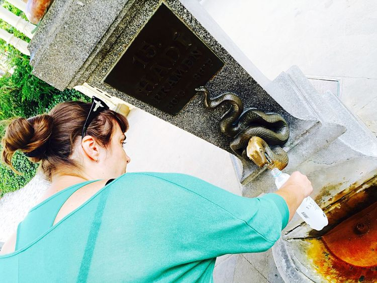 Spa Town SPA Water Spa Time Spa Spring Spring Water Pouring Water Pouring Woman Hands At Work Snake