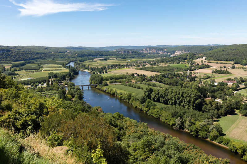 High angle view of river passing through countryside