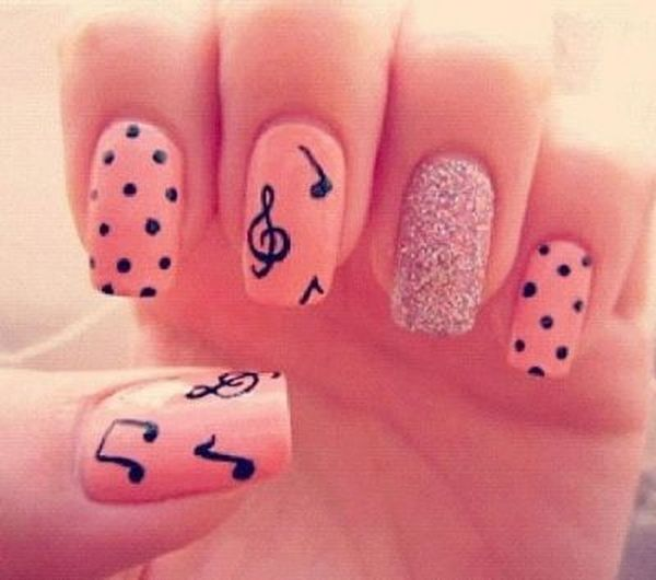 music notes nails