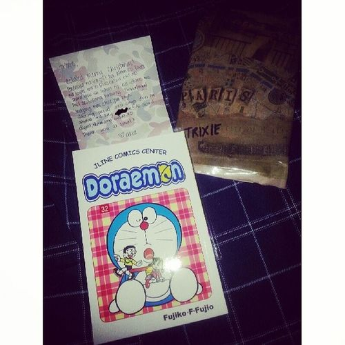I'm not fond of posting pictures of gifts given to me. But this one's an exception because it's Doreamon♥ Hahah. From one of the most wonderful girl & awesome friend who knows me the best. Thanks again @akeesantos because of this I will not just love you 5evs until eternity exists! Haha. Happykiddo ForeverDoraemonFan FaveChristmasgift Weakness
