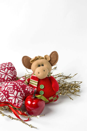 Animal Representation Celebration Childhood Christmas Ornament Close-up Cut Out Holiday Indoors  Mammal Red Representation Single Object Softness Still Life Studio Shot Stuffed Toy Teddy Bear Toy Toy Animal White Background White Color