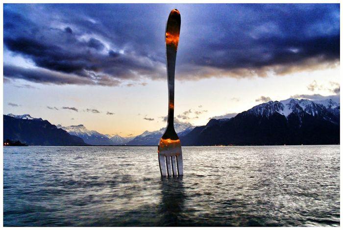 Montreux Switserland Fourchette Lac Léman Mountains Lac Montagne