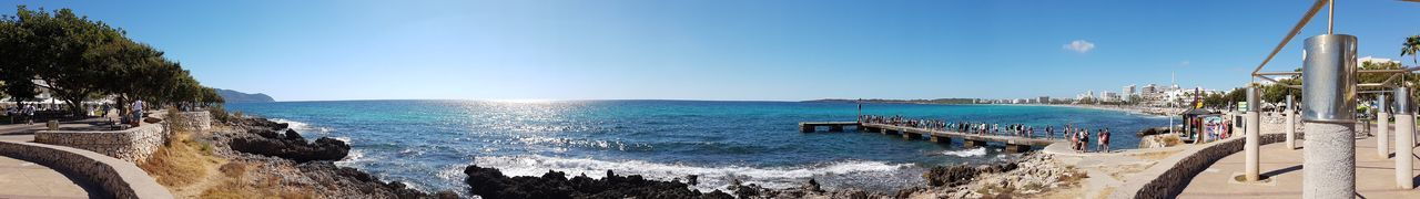 Shot with Galaxy S7. Sea Water Nature Day Outdoors Beauty In Nature Blue Sunlight Sky Motion Scenics No People Clear Sky Nautical Vessel Horizon Over Water Panorama