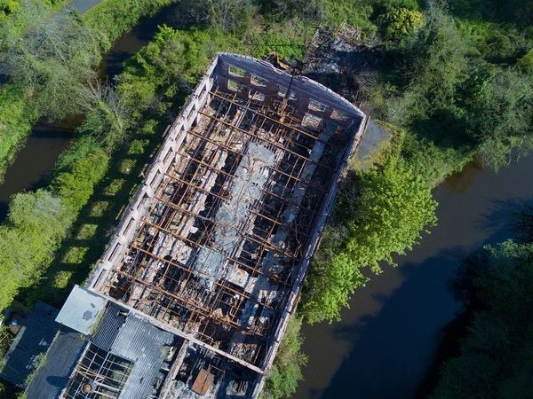 Architecture Beauty In Nature Building Exterior Built Structure Day Derelict High Angle View Hilden Lagan Mill Nature No People Outdoors River Roofless Ruin Sewage Tree Urban Water