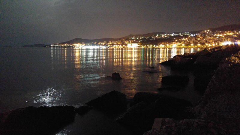 Reflection Water Illuminated Night Outdoors Port Marine Greece Kavala City Waterfront No People Moon Reflection Sea Light And Reflection