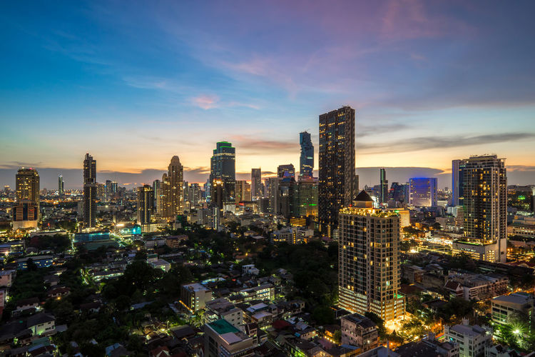 High angle view of modern buildings , beautiful sunset of bangkok city  , cityscape  thailand
