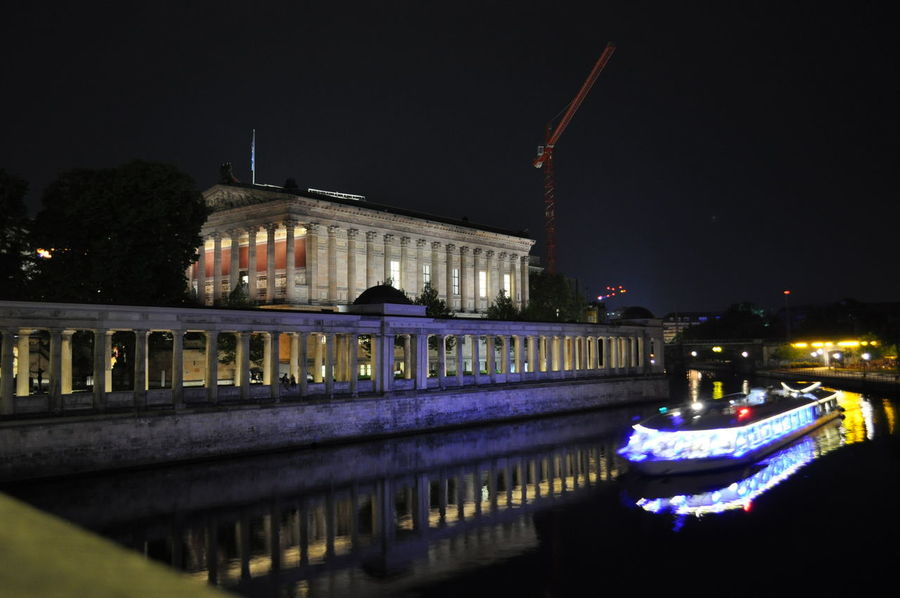 Alte Nationalgalerie Architecture Berlin Building Exterior Built Structure Capital Cities  City Life Famous Place Illuminated International Landmark Long Exposure Museumsinsel Museumsinsel Berlin Night Reflection Sky Travel Travel Destinations The Architect - 2016 EyeEm Awards Envision The Future