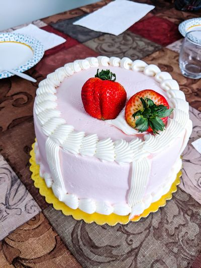 Strawberry Cake on Table Strawberry Strawberry Cake Food Berries Sweet Sweet Food Baked Goods Confection Fruit Dessert Plate Whipped Table Cake Cream Gourmet Homemade Food Styling