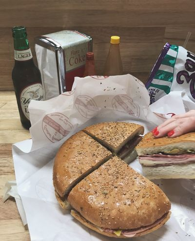 Mufaletta Sandwitch Food And Drink Human Hand Food Hand Human Body Part Indoors  Summer Road Tripping