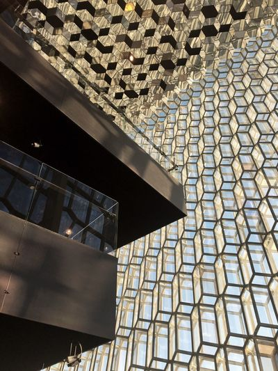 Harpa Reykjavik Architecture Glass Façade Harpa Opera House Reykjavik Iceland Capital Cities  Olafur Eliasson Architecture Low Angle View Glass Modern Light And Shadow No People Low Angle View Hexagon Modern Architecture Interior Pattern Day Architectural Design Window Structure Blue Sky Monument