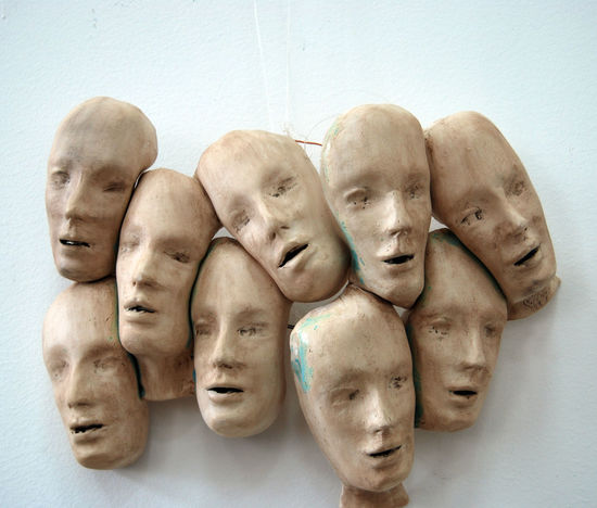 Art ArtWork Ceramic Close-up Concept Day Faces HEAD Human Body Part In A Row Outdoors People Pottery Pottery Art Representing Togetherness Voiceless White Background