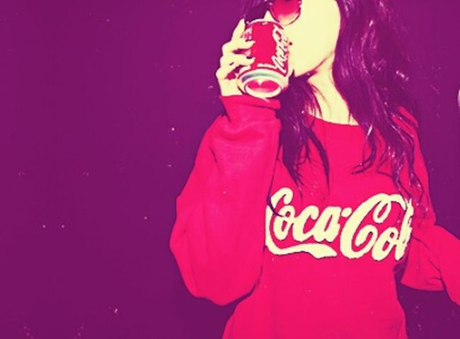 Coca-Cola)) Only Women One Woman Only People One Person One Young Woman Only Adult Adults Only Colored Background Human Body Part Red Outdoors Portrait Disguise Young Adult Day