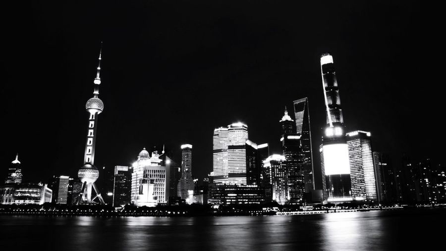 Shanghai, China Skyscraper Travel Destinations Architecture Travel Illuminated Modern Building Exterior Cityscape Business Finance And Industry Built Structure Tourism Vacations Outdoors Urban Skyline No People Night City Sky Black And White Nightphotography