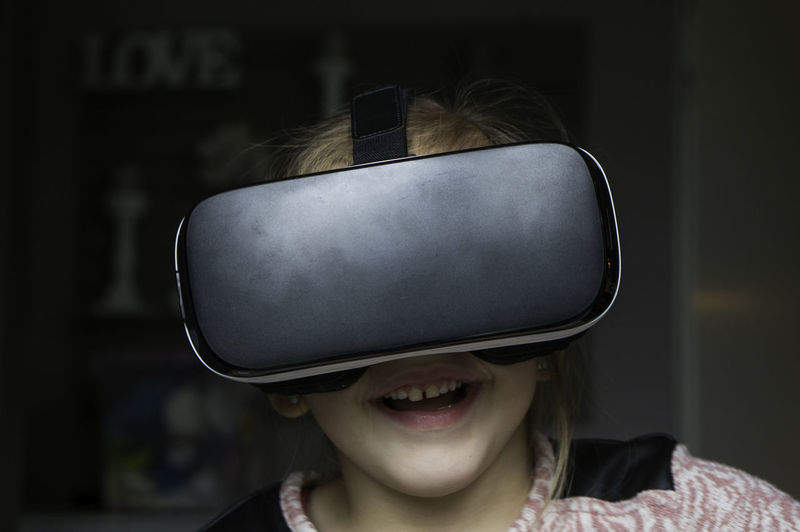 Close-Up Of Girl Wearing Virtual Reality Stimulator