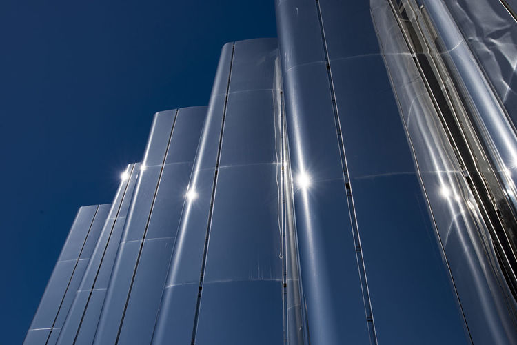 Len Lye art museum exterior, New Plymouth Architecture Blue Building Exterior City Clear Sky Glass - Material Low Angle View Modern New Plymouth New Zealand Sky Sunlight Tall - High