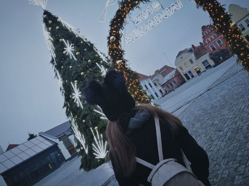 One Person Outdoors Vacations City Sky Day People Winter Christmas Tree Christmas Lights Women Backview Sadness Fluffy Child Childish