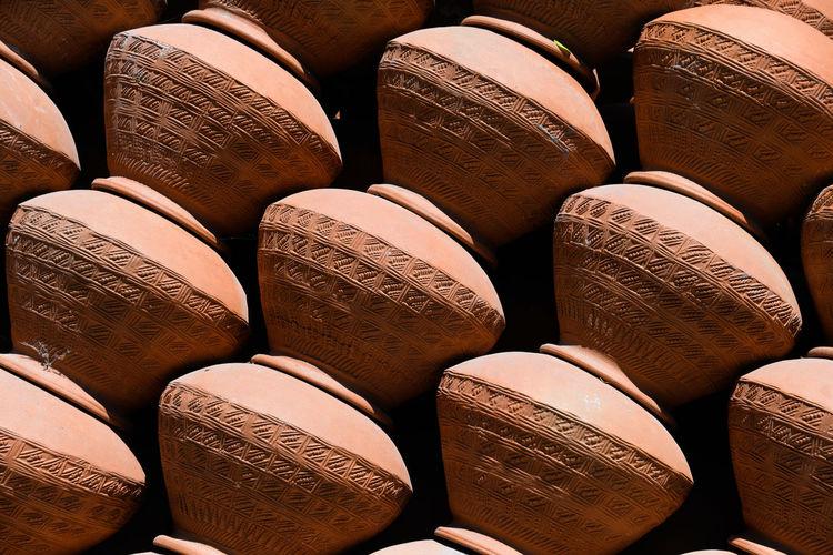 Full frame shot of pots