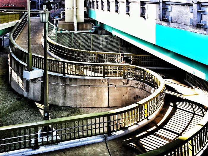 High angle view of spiral staircase in canal