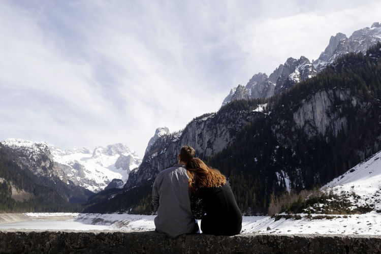 Couple Love Travel Trip Adventure Beauty In Nature Day Leisure Activity Mountain Mountain Range Nature Outdoors Real People Scenics - Nature Sky Snow Winter