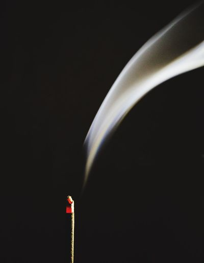 Smoke - Physical Structure Burning Flame Black Background Studio Shot Insence Insence Stick Smoke