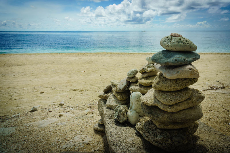 Stone stacking Iloilo Philippines Balance Beach Beauty In Nature Cloud - Sky Day Horizon Horizon Over Water Land Nature No People Outdoors Pebble Sand Scenics - Nature Sea Sky Solid Stack Stack Rock Stone - Object Tranquil Scene Tranquility Water