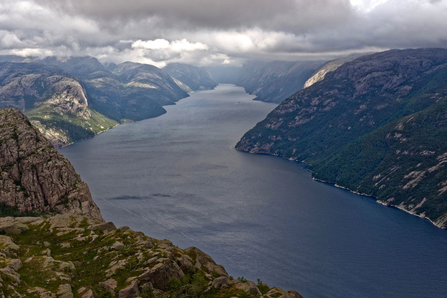 View of Lysefjord from Preikestolen(Pulpit Rock), Rogaland, Norway. Attraction Beauty In Nature Cloudy Sky Day Daytime Fjord High Up In The Mountains High Up View Horizontal Landscape Lysefjord Lysefjorden No People Norway Outdoors Preikestolen Prekestolen Scandinavia Scenics Sea Travel Destinations Water