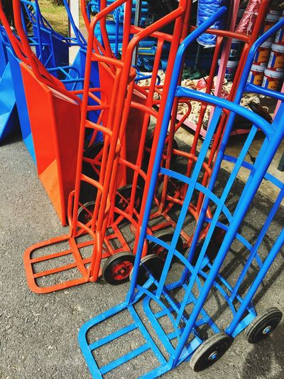 Red No People Multi Colored Outdoors Day Close-up Movement Metal Rolling Cart Hand Carts Colorful Colors Construction Work Hand Tools