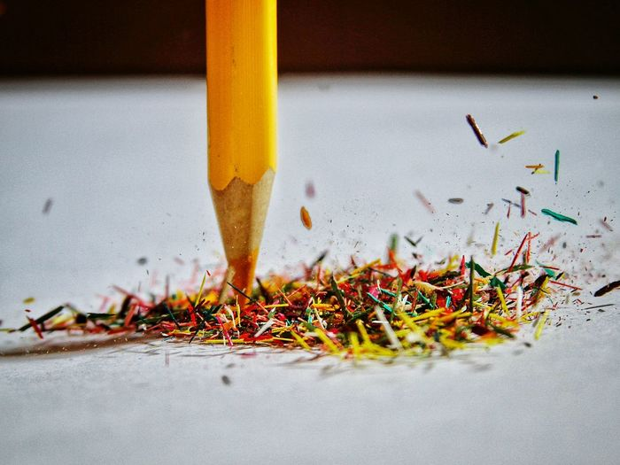 Close-Up Of Colored Pencils Shavings