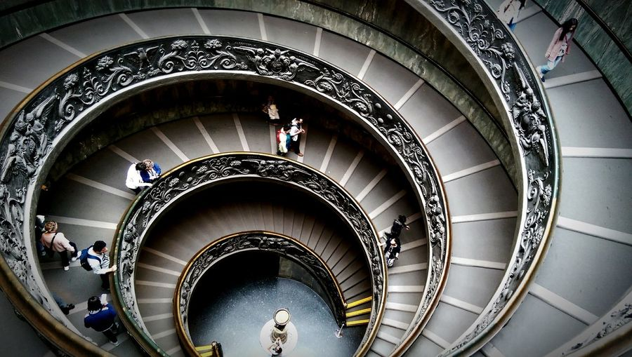 High Angle View Of People Walking In Vatican Museums