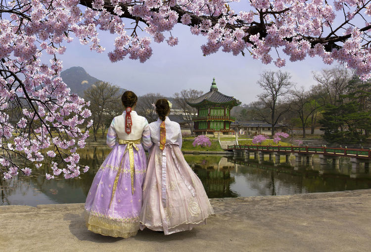 Rear View Of Women Standing In Traditional Clothing Against Lake At Park