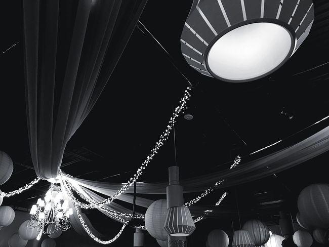 Lighting Equipment Hanging Illuminated Indoors  Night Low Angle View No People Curtain Decor Decoration The Week On EyeEm Blackandwhite Bnw