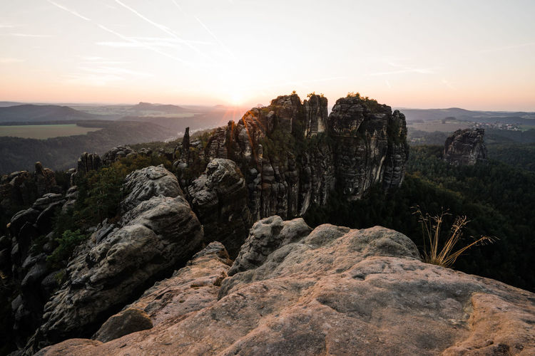 Huge sandstone mountains at sunset