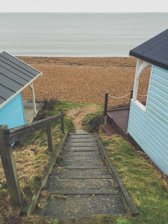 Beach Beach Huts Seaside Coast Pebble Beach Steps Looking Down