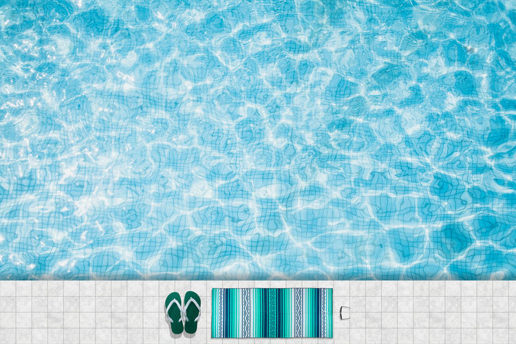 Pool float, ring floating in a refreshing blue swimming pool Absence Blue Clean Day Directly Above Floating On Water Flooring High Angle View Holiday Luxury Nature No People Pattern Pool Poolside Summer Sunlight Swimming Pool Tile Tiled Floor Trip Turquoise Colored Vacations Water