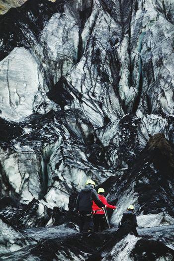 Glacier Vulcano Ice Lava Rocks Mountain Snow Cold Temperature Climbing Adventure Extreme Sports Hiking Exploration Backpack Rock Face Rock Climbing