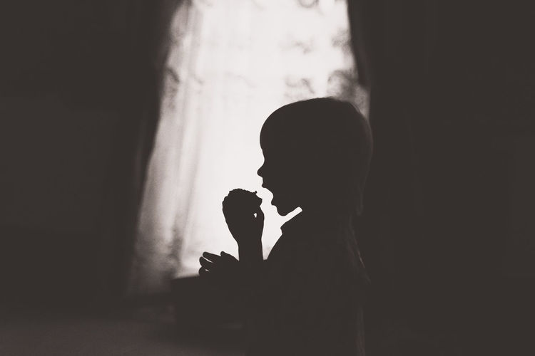 Apple Blackandwhite Childhood Childhood Memories Children Children's Portraits Real People Silhouette Stage - Performance Space Young Adult First Eyeem Photo