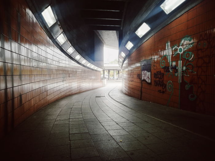 Light at the end... Curve Illuminated Corridor Tunnel Architecture Built Structure Underpass Ceiling Light  vanishing point Diminishing Perspective Empty Road A New Beginning
