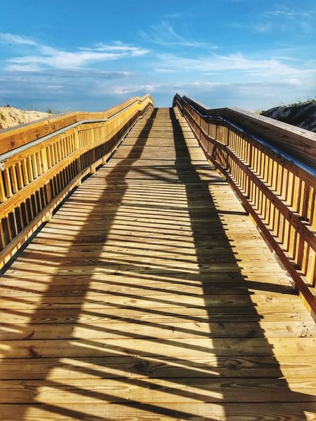 WalkwayToSerenity-FireIsland Boardwalk Long Island Fire Island EyeEm Selects Railing Sunlight Sky Shadow Bridge - Man Made Structure Cloud - Sky