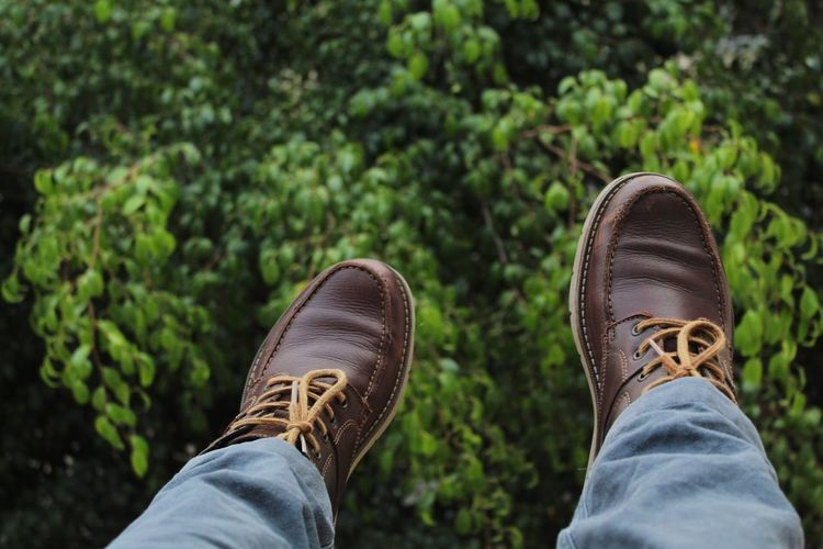 Low section of man wearing shoes by plants