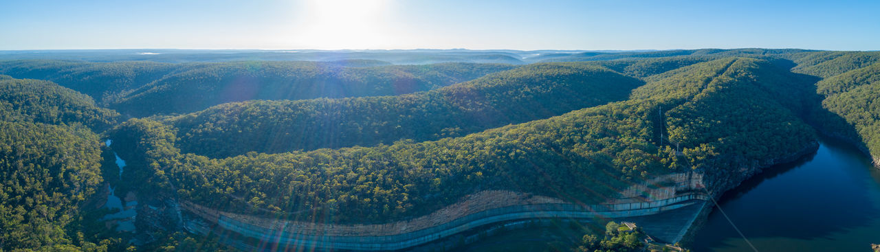 Aerial View Aerial View Panorama Panoramic Drone Photography Landscape Australia Australian Landscape New South Wales  Sunrise Scenics - Nature Environment Nature Beauty In Nature Land Mountain No People Day Tranquility Sky Plant Water Tree Tranquil Scene Sunlight Travel Destinations Non-urban Scene Outdoors