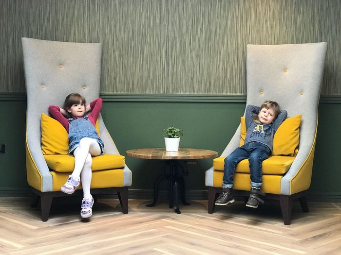 SOFA TIME Sofa Chilling Kidsphotography Kids Childhood Memories Childhood Brother & Sister Relaxing Childhood Sitting Offspring Men Child Two People Togetherness Seat Girls Sofa Boys Friendship Living Room Family Furniture Indoors
