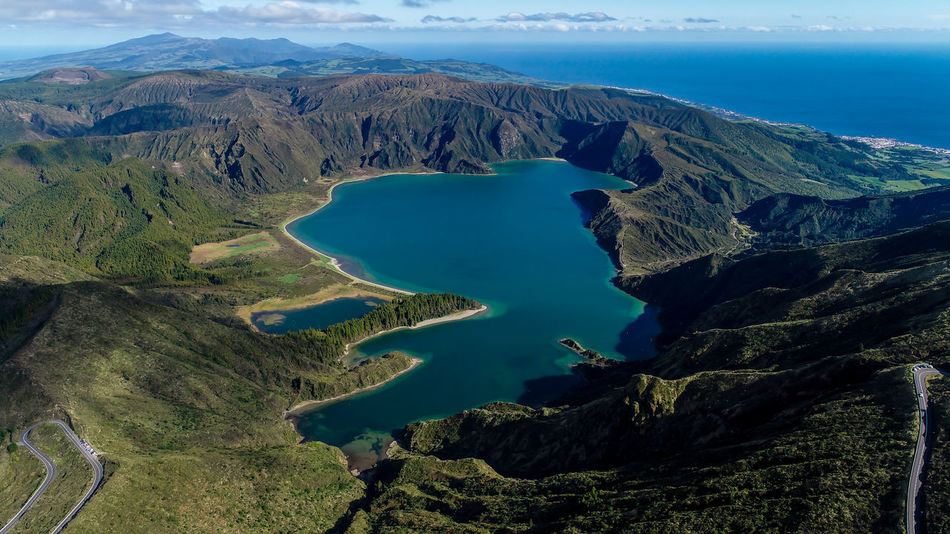 Lagoa do Fogo - Fire Lagoon Azores Azores, S. Miguel Azores Islands Azores Beauty Açores Açores - Portugal Açores - São Miguel Lagoa Do Fogo Fire Lagoon Aerial View Volcano Volcanic Landscape Water Sea Scenics Outdoors Landscape No People Volcanic Crater Nature Sky Day Lava