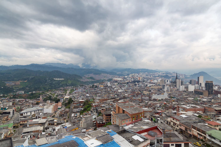 View of Manizales, Colombia. Andes Architecture City Cityscape Coffee Colombia Downtown Latin Manizales Nevado South Tourist View Aerial America Andean Caldas Coffee Triangle Colombian  Destination Landscape Mountain Sky Volcano Zone